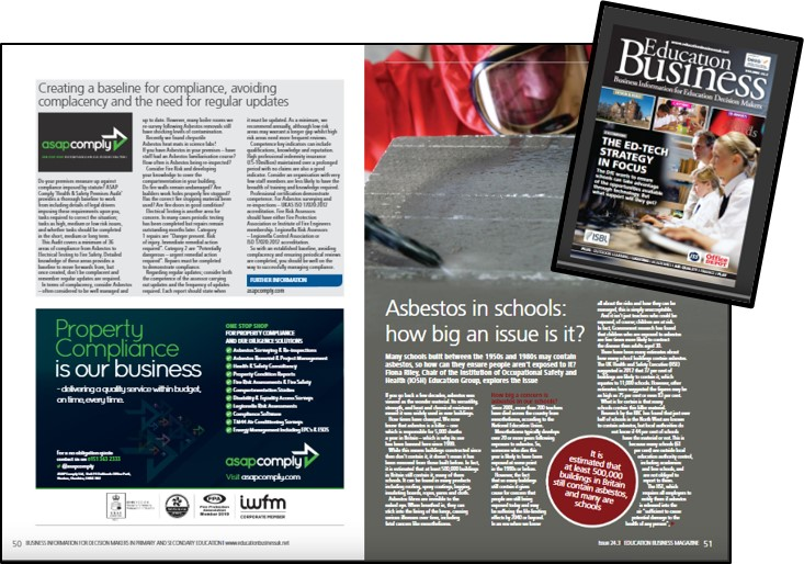 Image illustrating the article in Education Business Magazine page 51